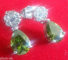 SPD Green peridot pear drop & diamante studs silver (white gold gf) BOXD Plum UK