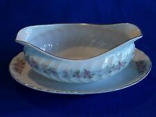 Dansico ~ TEAHOUSE ROSE ~ Gravy Boat Attached Underplate Fine China Japan