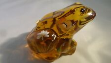 Fenton Art Glass Hand Painted Amber Frog Figurine  5274 BF