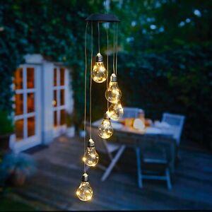 Windspiel Solar LED Licht weiß Solarleuchte Balkon Garten Deko hängend Glühbirne