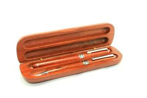 SET OF TWO PENS WITH WOODEN CASE AND BOX , N.O.S.