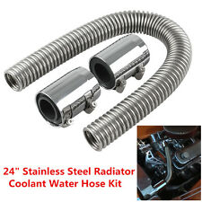 "Universal Chrome Stainless Steel 24"" Radiator Flex Coolant Water Hose Kit & Caps"