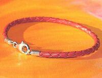 Ladies / mens 3mm Red braided leather & sterling silver bracelet - Lyme Bay Art.