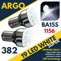 2 x ULTRA BRIGHT 19 LED WHITE 382 P21W BA15S 1156 REAR REVERSING REVERSE BULBS