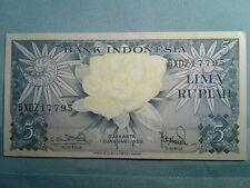 Indonesia Banknote 5 Rupiah 1959 Replacement Prefix XDZ *UNC* !)$