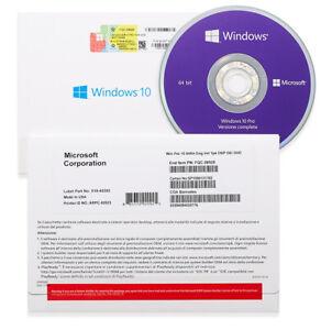 WINDOWS 10 PRO 64BIT DVD INSTALLAZIONE + CODICE DI ATTIVAZIONE, NUOVO, ITALIANO