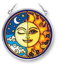 """AMIA STAINED GLASS SUNCATCHER SUN & MOON CORONA MASTER  3.5"""" ROUND   42298"""