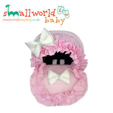 Personalised Pink Frilly Cotton Baby Car Seat Cover (NEXT DAY DISPATCH)