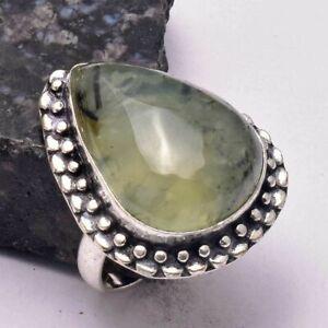 Prehnite Ethnic Handmade Ring Jewelry US Size-8.5 AR 32772