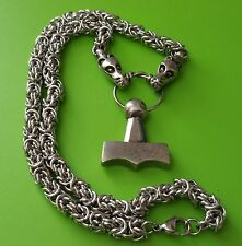 Viking Dragon Chain with Mjölnir Thor's Hammer Pewter Pendant Necklace