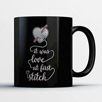 Crochet Coffee Mug - Love At First Stitch - Funny 11 oz Black Ceramic Tea Cup -