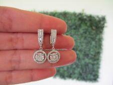 4.00 Carat Face Diamond Illusion Dangling Earrings 14K White Gold JS99E  sep