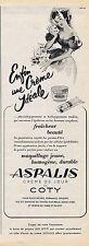 PUBLICITE ADVERTISING 084 1952 COTY Créme de jour Aspalis