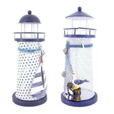 Nautical Style Iron Lighthouse Lantern Candle Holder Seabirds & Boat - 18cm