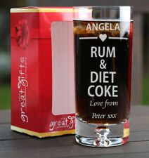 Personalised Engraved Boxed Rum & Diet Coke Glass Gift Birthday Christmas Heart