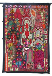 Wall Hanging Indian Patchwork Cotton Tapestry Embroidered Wall Decor art Throw