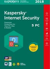 Kaspersky Internet Security 2018 Multi-dispositivo 5 Utilizzatori 1 anno Licenza