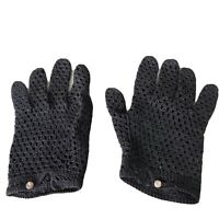 Vintage Hand Crochet Black Open Knit Womens Gloves Size 6.5