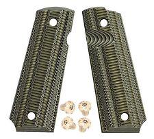 1911 G10 Grips BlackGreen Full Size Gk8 +Golden titanium Torx grip screws