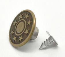 Boutons pression pour jeans vieux bronzé / cuivre étoile en métal 10 sets 17mm