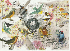 Rice Paper Vintage Birds and Nest for Decoupage Decopatch Scrapbook Craft Sheet