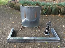 POLISHED CHROME ARTS & CRAFTS STYLE FENDER WITH FIRE SCREEN AND COMPANION SET