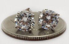 14k White Gold 7 MM Cubic Zirconia Push Back Stud Earrings Men, Women & Children