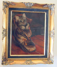 CAT IN THE BOOTH 19 C FINE OIL ON CANVAS PAINTING FRAMED GORGEOUS DETAILS