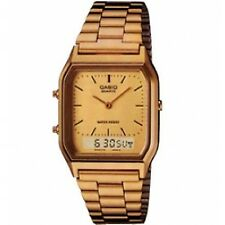 Casio Classic Gold Retro Dual Time Analogue Digital Vintage Style Watch Aq230ga