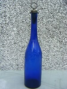 ANTIQUE GEORGIAN DECANTER BRISTOL COBALT BLUE GRAPE VINE
