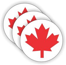 (3) Canadian Flags Hard Hat Stickers  Helmet Decals Labels  Canada Maple Leaf
