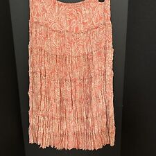 NWOT Allison Taylor XL Orange & Tan Geometric Print Tiered Pleated Skirt!!