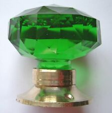 green door knob  large cut  glass  (one) Brass base