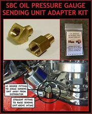 SBC OIL PRESSURE GAUGE SENDING UNIT FITTINGS / ADAPTER KIT TO CLEAR DISTRIBUTOR