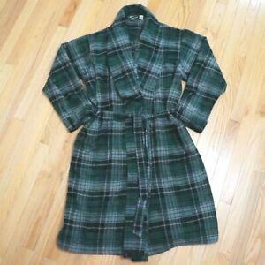 L.L. Bean Scotch Plaid Bath Robe Men's Size XXL 100% Cotton Green Grey Black