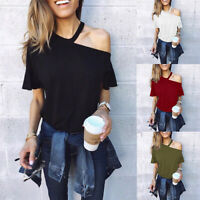 New Style Women's  Blouse Short-sleeved Hanging Neck Tshirt  High Waist Top