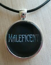 "Disney's ""MALEFICENT""  Glass Pendant with Leather Necklace"