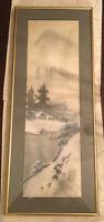 "Japanese Kakejiku Hanging Scroll ""Landscape Painting"" 彩色山水 Signed Seido Vintage"