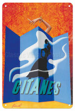 Lady with Gitanes French Cigarette - Pinel 1970 - 8in x 12in Vintage Metal Sign