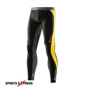 Skins DNAmic Mens Long Tights (Black/Citron) + FREE AUS DELIVERY | BUY NOW!