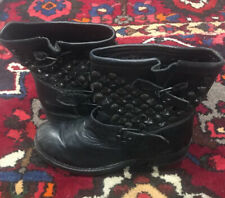 ASH Black Leather Antique Silver Studs W/ Stones Moto Biker Boots 9.5 Distressed