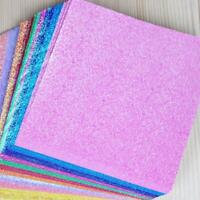 50pcs Square Origami Paper Single Side Glitter Folding Solid Color Papers 2020