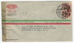 1944 Dec 25th. Censored Air Mail Cover. Mexico to Wilmington, Delaware.