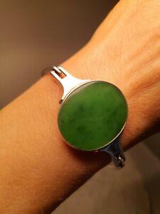 ❤️ Exceptional Vintage Danish Denmark NE From Sterling Silver Jade Bracelet   ❤️