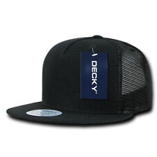 5 Panel Flat Bill Trucker Hat - Black, Acrylic (Decky 1063-BLK, New with Tags)