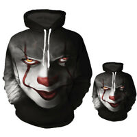 3D Print Sweatshirt Hoodie Stephen King It Pennywise Horror Clown Sportswear #N