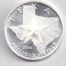 2014 Uncirculated Silver Texas Round. 1-Troy oz. .9999 Silver