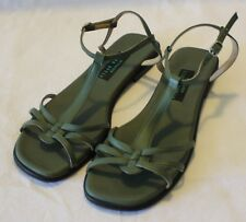 VEGAN WARES AUSTRALIA ~ Moss Green Faux Leather Flat Sandals Like New 11