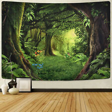 Wall Tapestry Forest Print Tapestries Art Green Scenery Wall Hanging Home Decor
