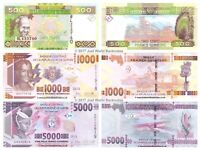 Guinea 500 + 1000 + 5000 Francs 2015 Set of 3 Banknotes 3 PCS UNC